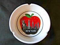 "VINTAGE NEW YORK ASHTRAY CERAMIC SOUVENIR  4"" WHITE RED APPLE STATUE OF LIBERTY"