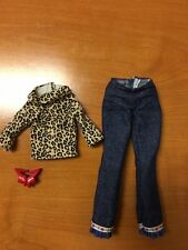 Barbie generation girl my room outfit leopard top blue jeans and redshoes look