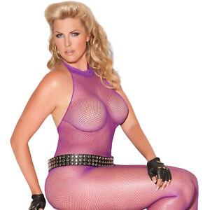 Fishnet Bodystocking Lace Trim Halter Neck Crotchless Purple 8634 Plus Size