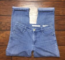Jones New York womens jeans size 4 City Cuffed Capri cropped light wash slimming