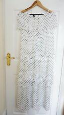 H&M Tiered Chiffon Maxi Dress, White Black Spotted Women Skirt, UK 8 S, BNWT