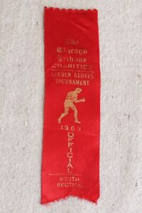 Vintage Chicago Tribune Golden Gloves 1963 Red Boxing Ribbon South Section