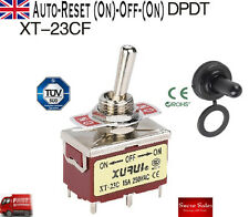 15A 250VAC 6 Pin DPDT (ON)-OFF-(ON) Toggle Switch+Waterproof Dashboard XT-23CF