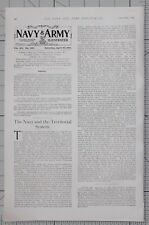 1901 PRINT 20th APRIL ARTICLE ~ THE NAVY & THE TERRITORIAL SYSTEM