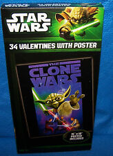 Valentines Day Cards (Box of 34) Star Wars The Clone Wars with Poster