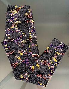 LuLaRoe Leggings TC 12-18 BLACK PURPLE YELLOW PAISLEY FLOWERS Floral UNICORN