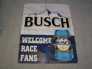 NEW NASCAR WELCOME RACE FANS BUSCH BANNER SIGN BEER MAN CAVE CAR RACING