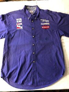 Vintage Pep Boys PPG Bugle Boy Royal Purple Scandia Racing Pit Crew Shirt CLEAN