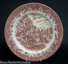 """Churchill Harvest Time Brown Pattern For Currier & Ives Dinner Plates 10"""" - VGC"""