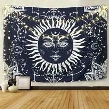 """BLEUM CADE Psychedelic Moon & Sun Wall Hanging Celestial Tapestry 92""""x70"""""""