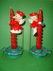 1950's Ceramic 4 pc Boy Girl ANGEL Candle Huggers & Taper Candle Holders JAPAN