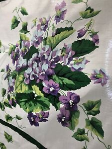 Excell Home Fashions Shower Curtain Purple Violets Green Leaves on White Cottage