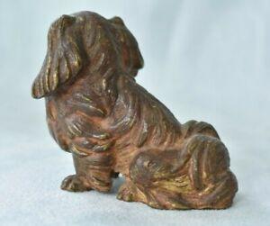 Antique Austrian Viennese Painted Chinese Pekingese Dog Bronze Figure Statue