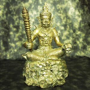 "Thai Amulet Mahadet Wessuwan Giant Kuvera Statue Brass 9.5"" Tall BE2561 多聞天王"
