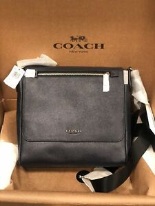COACH Bleecker Mens 55547 Navy Blue Crossgrain Leather Kennedy Map crossbody bag