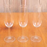 3 Clear Glass Champagne Wine Goblets Water Cups
