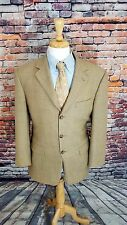 Burberry LONDON 40R Blazer 3 Button Beige Bird's Eye Wool Sport Coat Jacket EUC