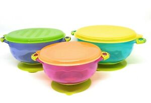 Stay Put Suction Set of 3 Baby Bowls. Money Back Guarantee on Quality NO BPA's
