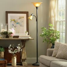 Floor Lamp Torchiere Antique Bronze Glass Amber Frost Shades Office Living Room