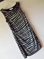 New ANN TAYLOR LOFT LP ANIMAL PRINT DRESS Knit Draping Cowl Black Gray L Petite