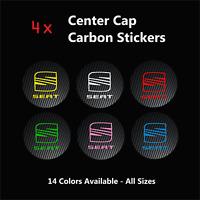 4x SEAT Sport Badge Logo Carbon Center Caps Alloy Rim Wheel Stickers Ibiza Leon