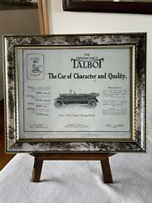 """Antique Car Advertising, 1922 Framed """"The Invincible Talbot"""" Sales Advertising ."""