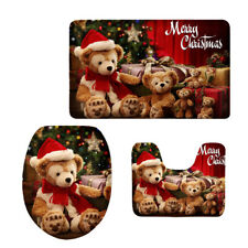 3pcs/Set Bathroom Toilet Mat & Seat Cover Bear Santa Xmas Bath Rug Non Slip