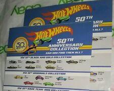 2018 Hot Wheels Promo Sheet ☀ 50Th Anniversary ☀ Check List X 2