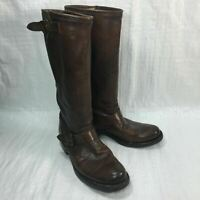 Frye Dark Brown Distressed Leather Riding Pull On Womens Boots 8.5B