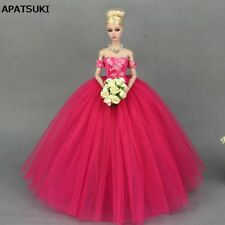 """Hot Pink Little Dress Wedding Dress for 11.5"""" Doll Clothes Princess Party Wears"""