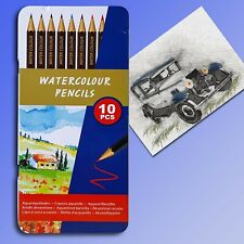 10 Watercolour Pencils in Metal Box, Tin with Coloured Pencils Crayons Pencils