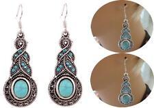 Fashion Women Retro Tibetan Silver Turquoise Crystal Pendant Earring Dangle Hook