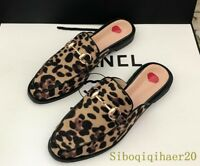 Women's Leopard Printed Metal decor Suede Flat Heels Fashion Mules Loafers Shoes