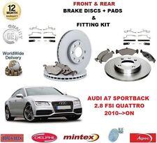 Para Audi A7 2.8 FSI Quattro 2010 -- > en la parte delantera + Discos De Freno Trasero & Pastillas + Montaje