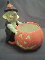 """Halloween Jack O Lantern and Witch Flower Pot or Candle Holder  5.5"""" x 4.5"""" x 3"""""""