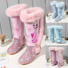 Kids Girls Glitter Sequin Fur Lined Winter Warm Princess Party Snow Boots Shoes