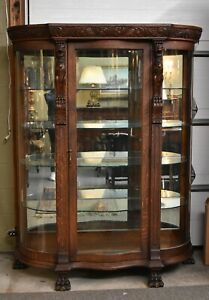 Antique Horner Serpentine Front China Cabinet Paw Feet Carved Winged Griffins