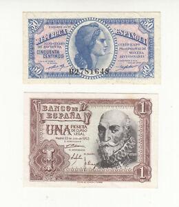 Spain 2x AUNC banknotes @ low start