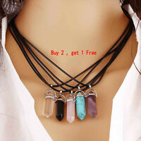 Natural Quartz Crystal Stone Point Chakra Healing Gemstone Pendant Necklace NEW