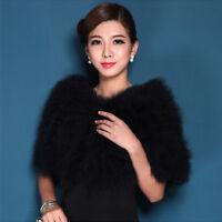 Women's Bridal Bridesmaid Wedding Ostrich Feather Fur Capes Wraps Scarf Stole