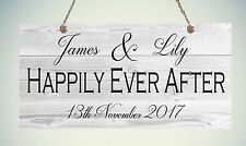 Personalised Happily Ever After Sign Valentines Plaque Gift Shabby Heart Chic