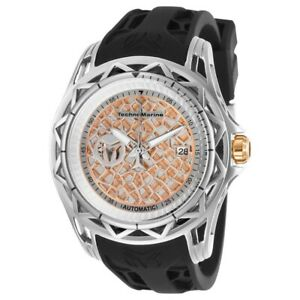 TECHNOMARINE TechnoCell TM-318012 SS Case Rose Gold Dial Black Rubber Band NH35A