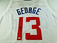 PAUL GEORGE / HAND SIGNED LOS ANGELES CLIPPERS CUSTOM BASKETBALL JERSEY / COA