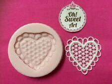 Lace Heart silicone mold fondant cake decorating cupcake topper food soap FDA