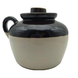 Vintage Stoneware Brown Cream Pottery Crock Jug & Lid USA Primitive Americana