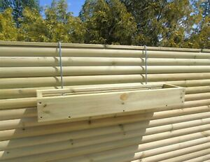 Over the Fence Panel Hanging Wooden Planter Smooth Decking Extended Hook