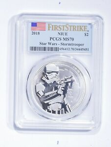MS70 2018 Niue $2 - 1 Oz. Silver Stormtrooper - First Strike - Graded PCGS *268