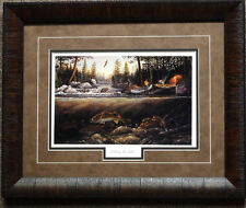 Terry Doughty Fishing the Falls Framed fishing Camping Print-Framed 21 x 17
