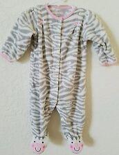 Baby Girls Sz 3-6 Mo CARTERS Sleeper Romper Fleece Outfit Animal Print  ~ Soft