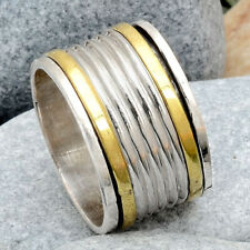 Two Tone Meditation Spinner 925 Sterling Silver Ring Jewelry s.7 AR83884